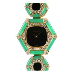 1stdibs - PATEK PHILIPPE Ladys Yellow Gold Diamond Chrysoprase Wristwatch explore items from 1,700  global dealers at 1stdibs.com