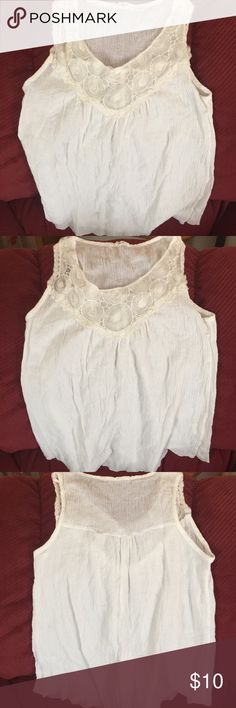 Creamy & Soft 100% Cotton  Top ✨WEEKEND SALE Deco from shoulder to mid breast line. Sheer light flowy type top. 100% Cool Cotton.  No size inside but Small is perfect. EUC. Gentle care. Stylebook Tops Tank Tops