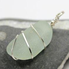 Sea Glass seaglass beach glass Pendant Wire wrapped Pale Aqua by BorealisSeaGlass, $14.00