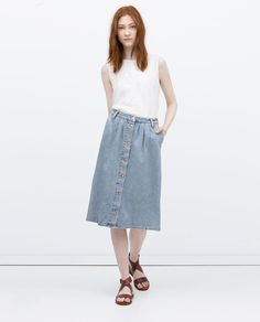 LONG DENIM SKIRT-View all-Skirts-WOMAN | ZARA United States