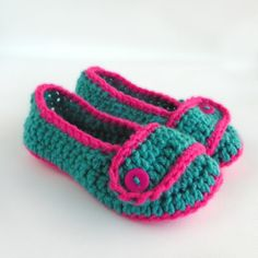 Teal With Bright Pink Toddler Crochet Slippers  by babybuttercup, $10.00