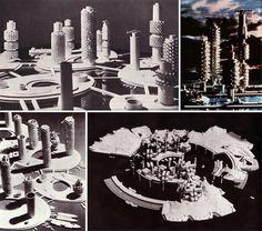 IN ALTO: KIYONORI KIKUTAKE, OCEAN CITY, 1962. IN BASSO A SINISTRA: ANCORA OCEAN CITY. IN BASSO A DESTRA: ATOLLO ARTIFICIALE PER LE HAWAII, 1971