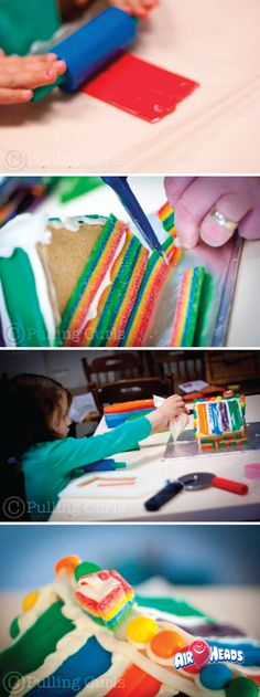 Your kids will love crafting and creating with Airheads candy! Easily set up a gingerbread house decorating project for your kiddos to get into the holiday spirit while also stretching their imaginations and working their nimble fingers. Use cookie cutters and scissors to easily make the unique shapes and decorations.