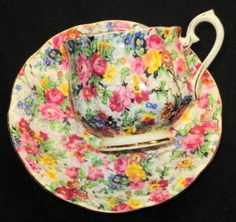 ROYAL-ALBERT-ENGLAND-PINK-YELLOW-BLUE-FLOWER-CHINTZ-GOLD-TEA-CUP-AND-SAUCER