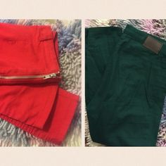 Forest Green and Bright Red skinny fit trousers Price for both. No longer fit me. If interested in buying separate let me know and I can tag you in their individual listing. Ships tomorrow H&M Pants Ankle & Cropped