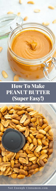 Learn how to make peanut butter at home from scratch with this easy step-by-step tutorial. You only need peanuts and a food processor. No oil, no sugar, no nasties! Naturally vegan, low carb and gluten free. Healthy Dessert Recipes, Vegan Snacks, Easy Snacks, Real Food Recipes, Healthy Snacks, Snack Recipes, Easy Meals, Breakfast Recipes, Peanut Recipes