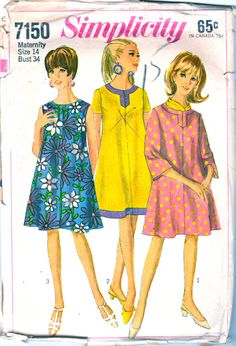 1960s Simplicity 7150 Mod Maternity Dress Pattern tent dress womens vintage sewing pattern by mbchills