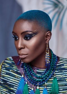 Laura Mvula for Notion Magazine shot by Vic Lentaigne, and styled by Kiera Liberati Afro, Laura Mvula, Short Blue Hair, Beautiful Black Hair, Beautiful Life, Natural Hair Styles, Short Hair Styles, Bald Hair, Flawless Beauty