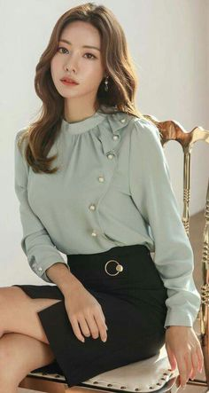 Pearl Accent Drape Frill Blouse StyleOnme_Pearl Accent Draped Ruffle Blouse too too Asian Fashion, Hijab Fashion, Fashion Dresses, Women's Fashion, Blouse Outfit, Dress Outfits, Work Outfits, Blouse Styles, Blouse Designs