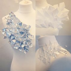 A Level Textiles, material manipulation, geometric, fashion pieces, using paper, plastic, tinfoil, experiments