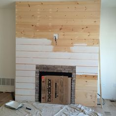 Shiplap on fireplace rustic mantle also love the coffee - Chimeneas minimalistas ...