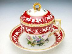 Porcelain chocolate cup and saucer set with a lid, Dresden, Germany c. 1880
