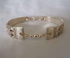 Spoon Bracelet Recycled Silverware Jewelry Sterling Beads Coronation
