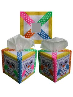 Plastic Canvas - Tissue Topper Patterns - Boutique-Style Patterns - Neon Bright Owl Tissue Box Cover