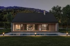 Projekt domu Murator C365j Przejrzysty - wariant X 104,5 m2 - koszt budowy - EXTRADOM Small Modern House Plans, My House Plans, Steel House, Facade House, Home Fashion, Bungalow, Cottage, Mansions, House Styles