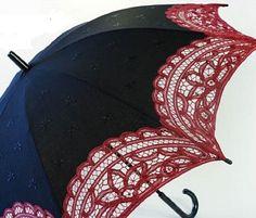 Big Curved Black Red Battenburg Lace Parasol Victorian Sun Umbrella Chic Elegant #Unbranded #Parasol