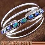 Genuine Sterling Silver And Purple Opal Native American Wilbur Benally Cuff Bracelet Jewelry