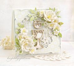 Kartka komunijna First Communion Cards, Fun Crafts, Paper Crafts, Card Making Designs, Communion Invitations, Shabby Chic Cards, Baptism Gifts, Some Cards, Card Making Inspiration