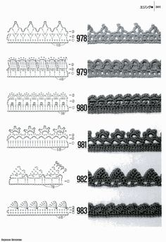 70 Ideas For Crochet Edging Patterns Charts Crochet Edging Patterns, Crochet Lace Edging, Crochet Motifs, Crochet Borders, Crochet Diagram, Crochet Chart, Thread Crochet, Crochet Trim, Knitting Patterns