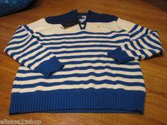 Boys 4 kids youth Royal 427 stripe Tommy Hilfiger sweater long sleeve $44.50 NEW