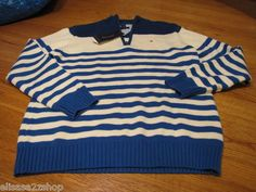 Boys 7 kids youth Royal 427 stripe Tommy Hilfiger sweater long sleeve $44.50 NEW