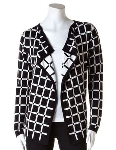 Windowpane Print Sweater, Black/Ivory