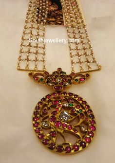 22 carat gold antique pearl haram with peacock pendant studded with rubies, emeralds and polki diamonds by jewels India Antique shoppee. Gold Rings Jewelry, Pearl Jewelry, Fine Jewelry, Diamond Necklaces, Jewelry Making, Agate Necklace, Leather Jewelry, Jewelery, Indian Jewellery Design