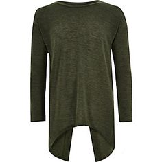 Girls khaki split back top