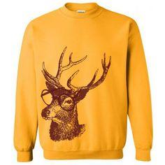 On Reindeer Professor Christmas Sweater Flex Fleece Pullover Classic... ($20) ❤ liked on Polyvore featuring tops, hoodies, sweatshirts, green, women's clothing, mixed print top, yellow sweatshirt, yellow pullover, patterned sweatshirt and green top