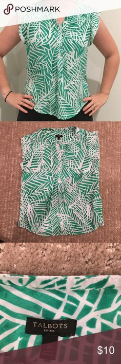 Green ruffle sleeve top Super cute summer blouse for the office or a night out!   Green and white tropical leaf print blouse. Half buttons, flowy ruffle sleeves, and a rounded hem make for great details. Looks perfect with white jeans and sandals!  NOTE ** shirt is labeled 2 petite, but I never wear petite clothes and it fits me like normal. ** Talbots Tops Blouses