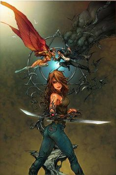 The Angelus, Darkness and Witchblade, by Kenneth Rocafort Free Comic Books, Comic Books Art, Comic Book Artists, Comic Artist, Arte Dc Comics, Top Cow, Free Comics, Comic Games, Image Comics