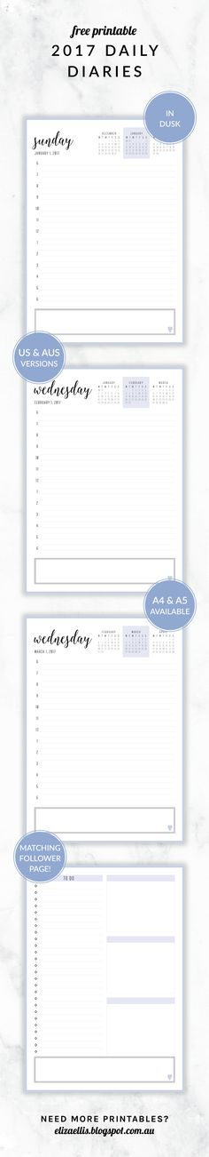 Free Printable 2017 Irma Collection Daily Diary with Bonus Planner Page // by Eliza Ellis. Available in both A4 and A5 sizes, and in 6 different colors. Check out my website to find matching daily planners, weekly planners, calendars, to do lists, notes, accounts, contacts and much much more!