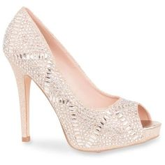 Lauren Lorraine Nude Elissa 3 Heel - Women's ($99) ❤ liked on Polyvore featuring shoes, pumps, heels, nude, nude platform shoes, sparkly pumps, peeptoe pumps, peep-toe shoes and nude shoes