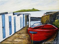 """Coliemore Harbour"" by Nuala Holloway - Oil on Canvas Irish Art, Seaside, Oil On Canvas, Boats, Beach, Painted Canvas, Ships, Oil Paintings, Boat"
