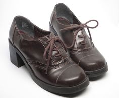 Hot Tomato Medium Heeled Trouser Shoe, Brown, Lace Up, Women's size 7.5 M #HotTomato #LaceUps