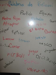 Baseball word wall in Spanish. Add the words as you read each new book.  Before reading the next book, use Total Physical Response with the words.  Children can act out the verbs and point to the nouns in the books or with other classroom visuals.  Bring in realia-real baseballs, bats, helmets, and other items to decorate the class and help your students with the vocabulary.