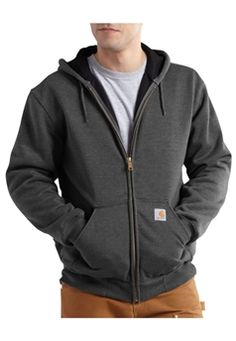 Carhartt Mens RD Rutland Thermal Lined Hooded Zip Front Carbon Heather Sweatshirt | Buy Now at camouflage.ca