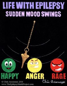 Painting #4 SUDDEN MOOD SWINGS of the Life With Epilepsy series. Unfortunately, depression, anxiety, mood swings, and anger are all physical parts of epilepsy that the medicines can make worse. #EPILEPSY #AWARENESS