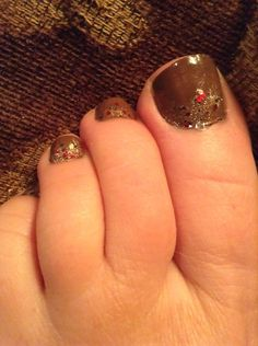 Pretty Brown Toenails with Red and Gold Glitter