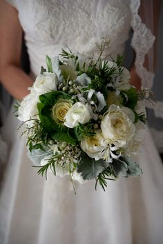 another bouquet inspiration: garden roses, rosemary, kale, lambs ear, and filler flowers/greenery