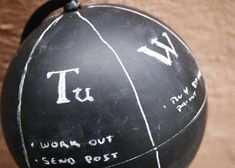"""CHALK BOARD PAINT: consider the possibilites: the odd short wall in your kitchen could become a grocery list, a wall in your kid's room would let them """"write on the walls"""" OR paint an old beat up globe: Jacob from Home Tree Atlas has just delved into the world of chalkboard paint! One of his pioneer projects was an Anthropologie-inspired chalkboard globe that now serves as a weekly to-do list on his desk. How much more fun is this than a plain old sheet of paper."""