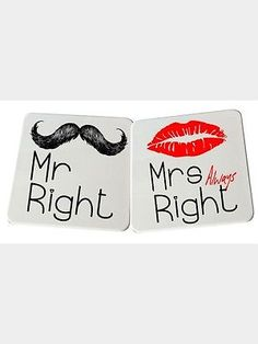 His and Hers Coaster Set Mr Right & Mrs Alway Right Present Tea Coffee Mug Mr Right, Triangle Necklace, Coaster Set, Coffee Mugs, Presents, Tea, Gifts, Coffee Cups, Teas