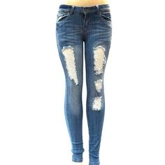 S-OK 1826 WOMENS BLUE Denim Stretch JEANS Destroy Skinny Ripped... ($19) ❤ liked on Polyvore featuring jeans, stretchy skinny jeans, ripped skinny jeans, destroyed skinny jeans, distressed jeans and super skinny jeans