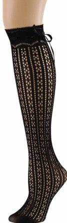Amazon.com: MeMoi Bowtastic Knee High Black One Size: Clothing