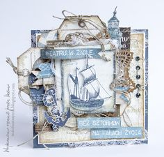 Male fantasies Oli: DT will be useful! - Card for sailor Nautical Cards, Nautical Theme, Mix Media, Scrapbook Room Organization, Cruise Scrapbook, Beach Cards, Boy Cards, Up Book, Beautiful Handmade Cards