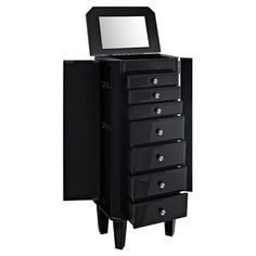 Keep your baubles and accessories organized in sleek style with this glossy black jewelry armoire, complete with a mirrored top perfect for arranging your de...