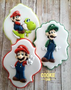 The Cookie Lab by Marta Torres Coloured Royal Icing Decorated Cookies . Not painted Super Mario Cookies