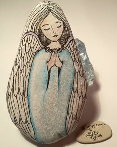 Beautifully painted rock angel!!