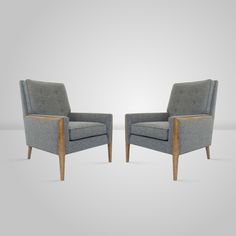 Pair of Club Chairs in the Manner of T.H. Robsjohn-Gibbings   From a unique collection of antique and modern club chairs at https://www.1stdibs.com/furniture/seating/club-chairs/