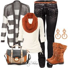 Love the shirt, sweater, and rust color cable knit scarf